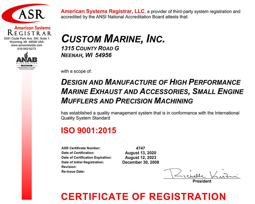 Custom Marine Inc. was CMI Awarded ISO 9001:2015 Certification on August 13, 2020